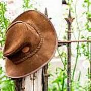Bush Hat On Railing Art Print