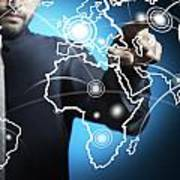 Businessman Touching World Map Screen Art Print by Setsiri Silapasuwanchai