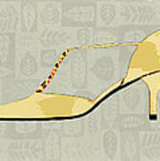 Butter Yellow Leather T Strap Heel Art Print