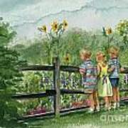 By The Garden Fence  Art Print