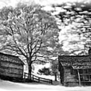 Cabin Under Buttermilk Skies Vignette Art Print