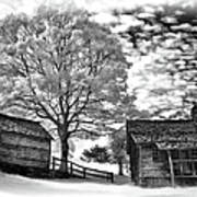 Cabin Under Buttermilk Skies Vignette Print by Dan Carmichael