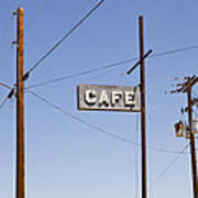 Cafe Sign Power And Telephone Cables Art Print
