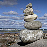 Cairn At North Point On Leelanau Peninsula In Michigan Art Print