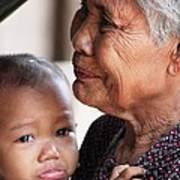 Cambodian Grandmother And Baby #1 Art Print