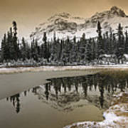 Canadian Rocky Mountains Dusted In Snow Art Print
