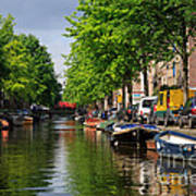 Canal Scene In Amsterdam Art Print