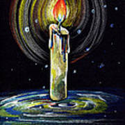 Candel On The Water  Art Print
