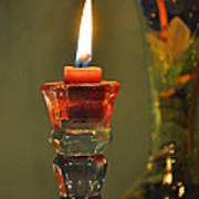 Candle And Colored Glass Art Print
