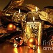 Candles Light In Sparkling Gold  Art Print