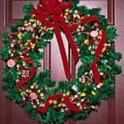 Candy Christmas Wreath Art Print
