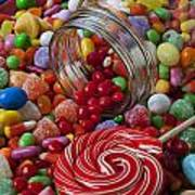 Candy Jar Spilling Candy Art Print by Garry Gay