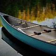 Canoe And Reflections On A Still Lake Art Print