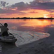Canoe At Sunset Art Print