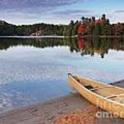 Canoe On A Shore Autumn Nature Scenery Art Print
