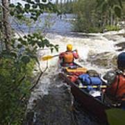 Canoeists Run A Rapid On The Winisk Art Print