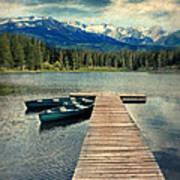 Canoes At Dock On Mountain Lake Print by Jill Battaglia