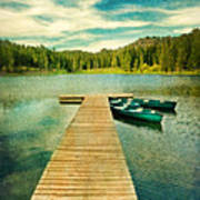 Canoes At The End Of The Dock Art Print