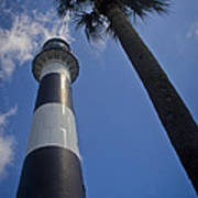 Cape Canaveral Lighthouse With Palm Tree Art Print