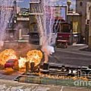 Car And Explosions At Disney Hollywood Art Print