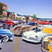 Car Show By The Lake Art Print