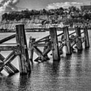 Cardiff Bay Old Jetty Supports Mono Art Print