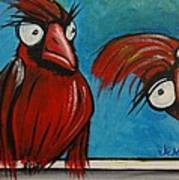 Cardinals On A Roof Art Print