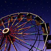 Carnival Ferris Wheel Against Starry Night Sky Art Print by Heather Cate Photography