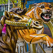 Carousal Camel And Tiger On A Merry-go-round Art Print