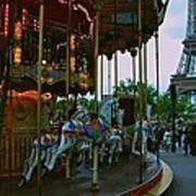 Carousel And Eiffel Tower Art Print