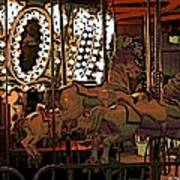 Carousel At Night Art Print
