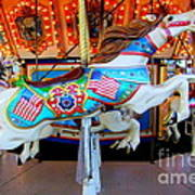 Carousel Horse With Flags Art Print