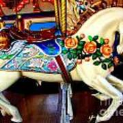 Carousel Horse With Roses Art Print