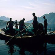 Carp Fishermen In Lake Formed By A Dam Art Print