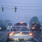 Cars And Traffic Lights In A Rain Storm Art Print