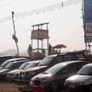 Cars In A Parking Lot At Surajkund Art Print
