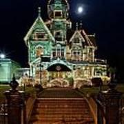 Carson Mansion At Christmas With Moon Art Print