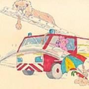 Cartoon Fire Engine And Animals Art Print