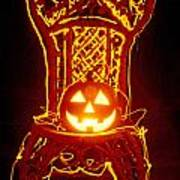 Carved Smiling Pumpkin On Chair Art Print