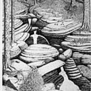 Cascade In Boulders Art Print