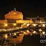 Castel San Angelo At Night. Rome Art Print by Bernard Jaubert