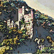 Castle Above The Rhine In Germany Art Print