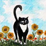 Cat Walk Through The Sunflowers Art Print