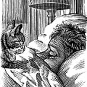 Cat Watching Sleeping Man, Artwork Art Print by Bill Sanderson