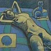 Cat With Nude Art Print