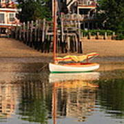 Catboat And Rippled Water Reflections Art Print