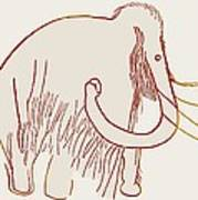 Cave Painting Of A Mammoth, Artwork Art Print