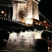 Chain Bridge At Night Art Print