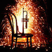 Chair And Horn With Fireworks Art Print