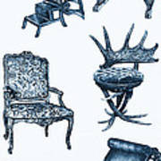 Chair Poster In Blue Art Print by Adendorff Design